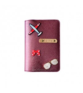 Buy Metallic Burgundy Passport cover (Peppy) Online at ILoveFashion
