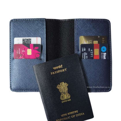 Metallic Navy Blue Passport cover (Peppy)