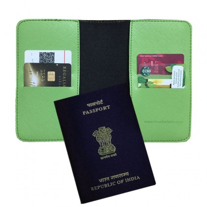 Saffiano Parrot Green Passport cover (Peppy)