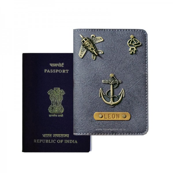 Charcoal Grey Passport Cover (Vintage)