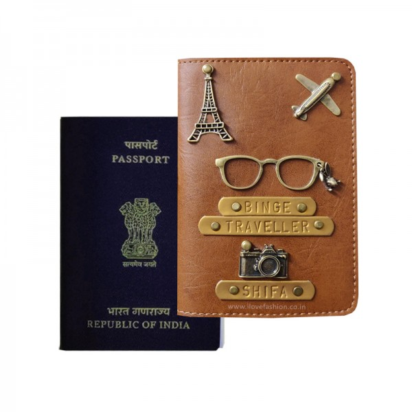 Tan Brown Passport Cover (Vintage)
